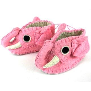 Handcrafted Felt Pink Elephant Zooties Baby Booties (Kyrgyzstan)