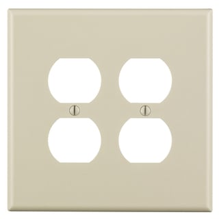 Leviton 005-80516-00T 2-Gang Almond Duplex Device Wall Plate