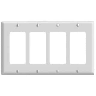 Leviton 005-80412-W Four Gang White Switch Wallplate