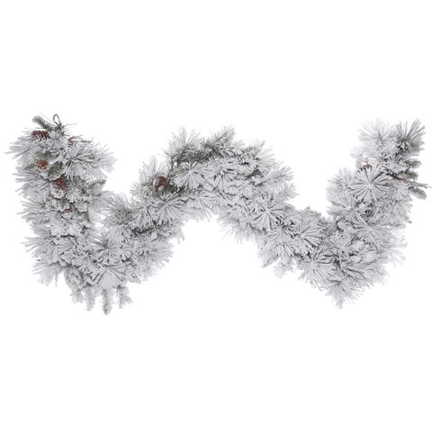 Flocked 9-foot x 18-inch Alberta Garland with Cones and 210 Tips