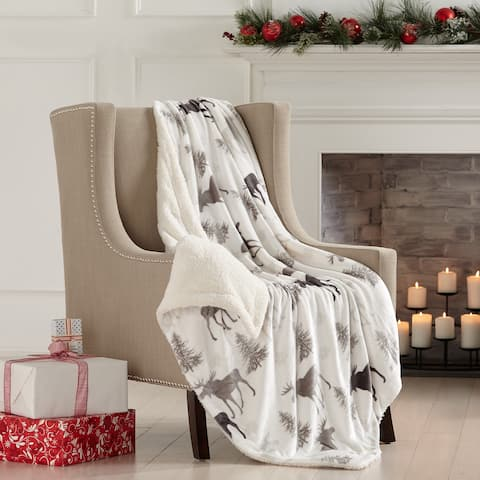 Home Fashions Design Reversible Berber Faux-Fur Velvet Plush Throw