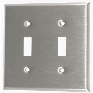 Leviton 004-84009-04 Double Gang Stainless Steel Double Toggle Wallplate