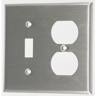 Leviton 004-84005-04 Double Gang SS Combo Toggle & Duplex Receptacle Wallplate