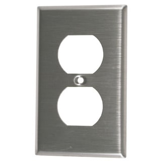 Leviton 004-84003-04 Single Gang Stainless Steel Duplex Receptacle Wallplate
