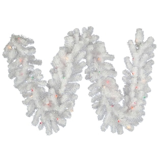 Vickerman Crystal White Garland with 50 Multi-Colored LED Lights