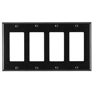 Leviton 004-80412-00E Black 4-Gang Wallplate