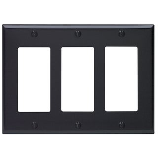 Leviton 004-80411-00E Black 3-Gang Wall Plate