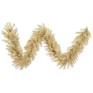 White and Gold 9-foot x 14-inch Tinsel Garland with 100 Clear Lights