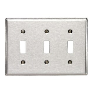 Leviton 003-84011-040 3-Toggle Stainless Steel Wall Plate