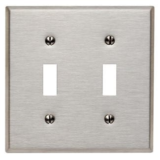 Shop Leviton 003 84009 Double Gang Stainless Steel Double Toggle
