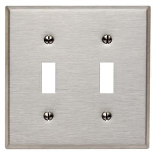 Leviton 003-84009 Double Gang Stainless Steel Double Toggle Wallplate. Opens flyout.