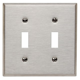 Leviton 003-84009 Double Gang Stainless Steel Double Toggle Wallplate
