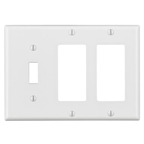 Leviton 003-80431-00W 1-Toggle 3-Gang 2 Decora GFCI Device Combination Wall Plate