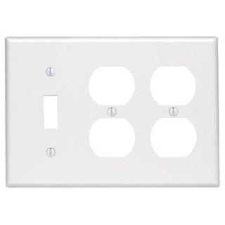 Leviton 002-88047-0 3-Gang White Combo 1-Toggle & 2-Duplex Receptacle Wallplate