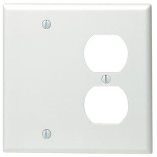 Leviton 002-88008-0 Double Gang White Combo Blank & Duplex Wallplate