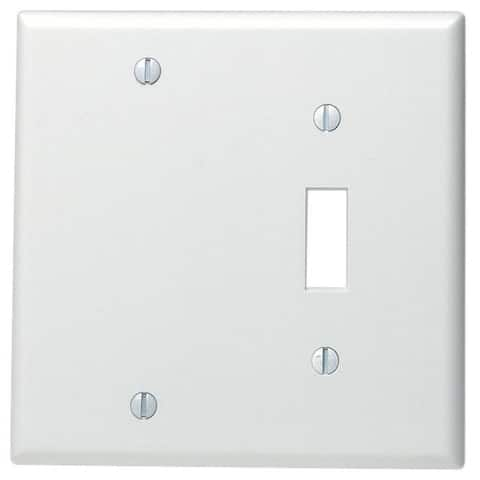 Leviton 002-88006-0 Single Gang White Toggle & Blank Wallplate