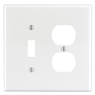 Leviton 002-0PJ18-00W 2-Gang Device Combination Midway White Wall Plate