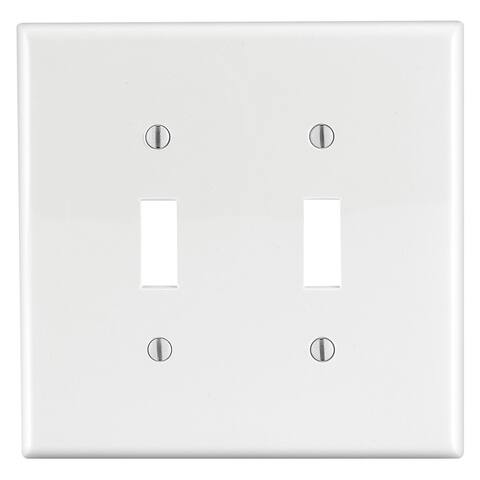 Leviton 002-00PJ2-00W 2-Gang Toggle Midway Size White Wall Plate
