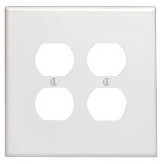 Leviton 001-88116-W Double Gang White Two Duplex Receptacle Wallplate
