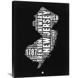 Naxart Studio 'New Jersey Black and White Map' Stretched Canvas Wall Art