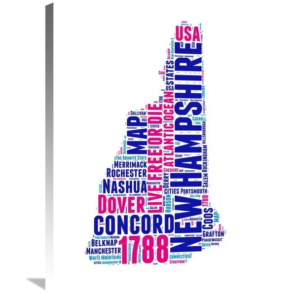Naxart Studio 'New Hampshire Word Cloud Map' Stretched Canvas Wall Art