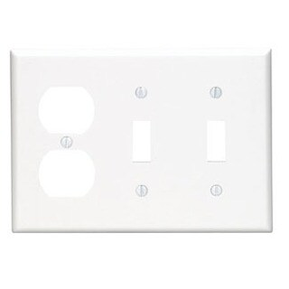 Leviton 001-88021 3-Gang White 2-Toggles & 1-Duplex Receptacle Wallplate