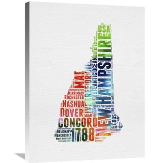 Naxart Studio 'New Hampshire Watercolor Word Cloud' Stretched Canvas Wall Art