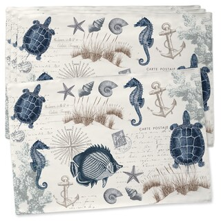 Laural Home Blue/Green Cotton Vintage Seaside Maritime Placemats (Set of 4)