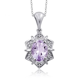 Jewelonfire Sterling Silver 1 1/10ct TGW Pink Amethyst and Diamond Accent Pendant