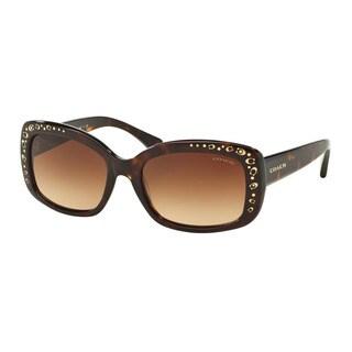 Coach HC8161 L146 512013 Dark Tortoise Womens Plastic Rectangle Sunglasses