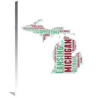 Naxart Studio 'Michigan Word Cloud Map' Stretched Canvas Wall Art