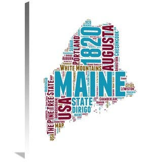 Naxart Studio 'Maine Word Cloud Map' Stretched Canvas Wall Art