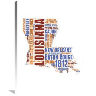 Naxart Studio 'Louisiana Word Cloud Map' Stretched Canvas Wall Art