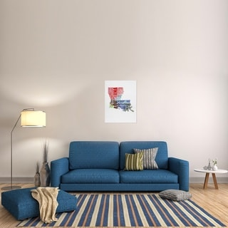 Naxart Studio 'Louisiana Watercolor Word Cloud' Stretched Canvas Wall Art