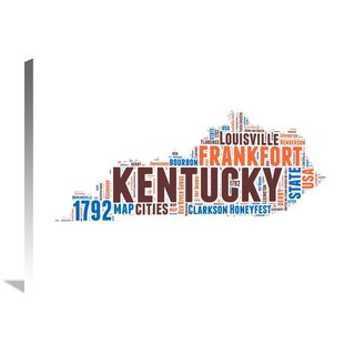 Naxart Studio 'Kentucky Word Cloud Map' Stretched Canvas Wall Art