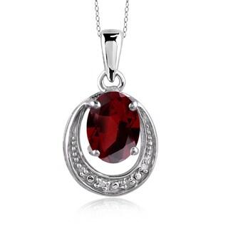 Jewelonfire Sterling Silver 1 5/8ct TGW Garnet and Diamond Accent Pendant