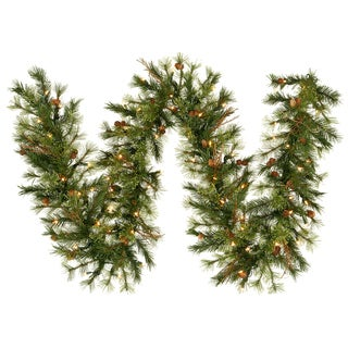 Vickerman 9-foot x 12-inch Mixed Country Garland with 50 Warm White LED Lights