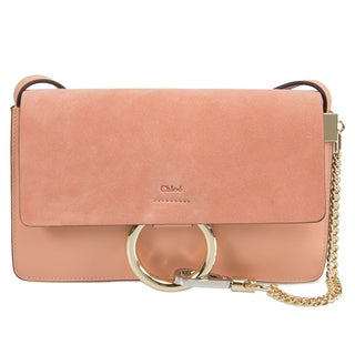 Chloe Faye Shoulder Bag in Rose Smooth/Suede Calfskin w/ Brass Hardware Size Small