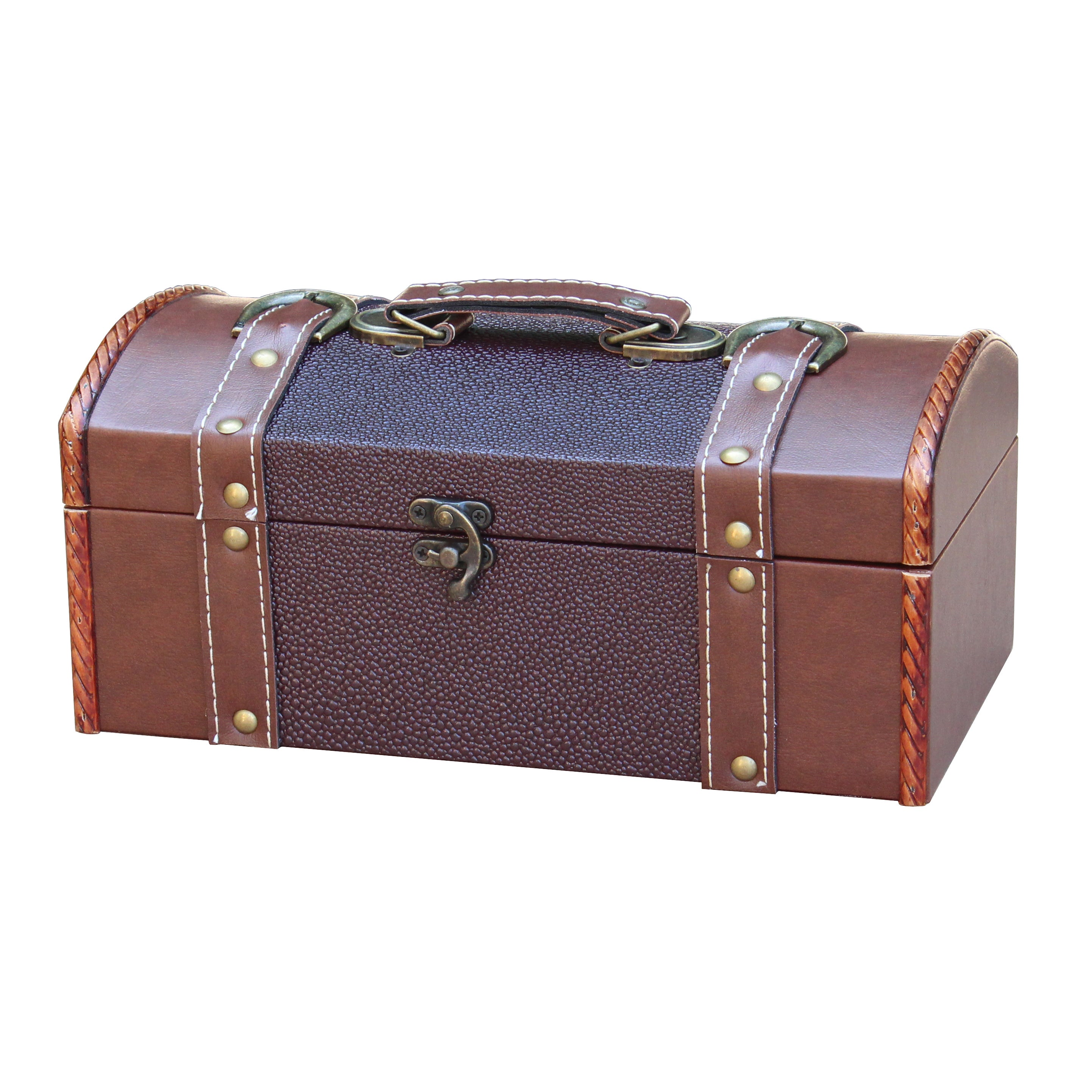 Vintiquewise Dresser Valet Leather Chest with Velvet Lini...