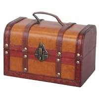 Vintiquewise Wood/Leather Treasure Box Trunk
