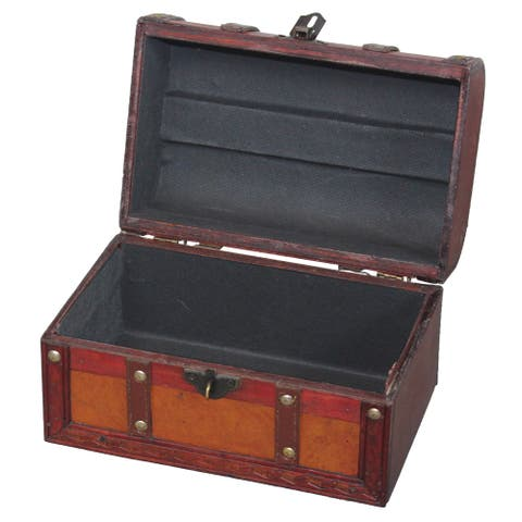 Vintiquewise Wood/Leather Treasure Box Trunk - brown