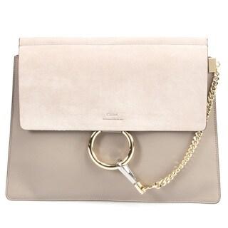 Chloe Faye Shoulder Bag in Motty Grey Smooth Suede Calfskin w/ Pale Gold Hardware Size Medium