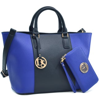Dasein Color-Block Medium Classic Tote Bag & Zip Around Emblem Wallet