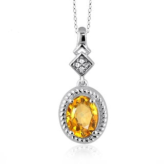 Jewelonfire Sterling Silver 1 1/10ct TGW Citrine and Diamond Accent Pendant