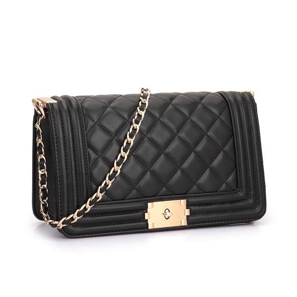 NEW Women Ladies Shoulder Quilted Handbag Gold Chain Faux Leather Cross Bo QDG