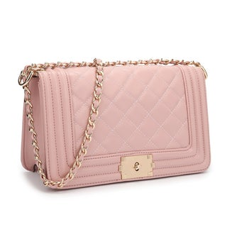 Dasein Quilted Crossbody Bag with Intertwined Leather Goldtone Chain Straps