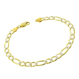 Sterling Silver Italian 6mm Figaro Link Diamond Cut Two-Tone Solid 925 Yellow Gold Bracelet Chain 8.5""