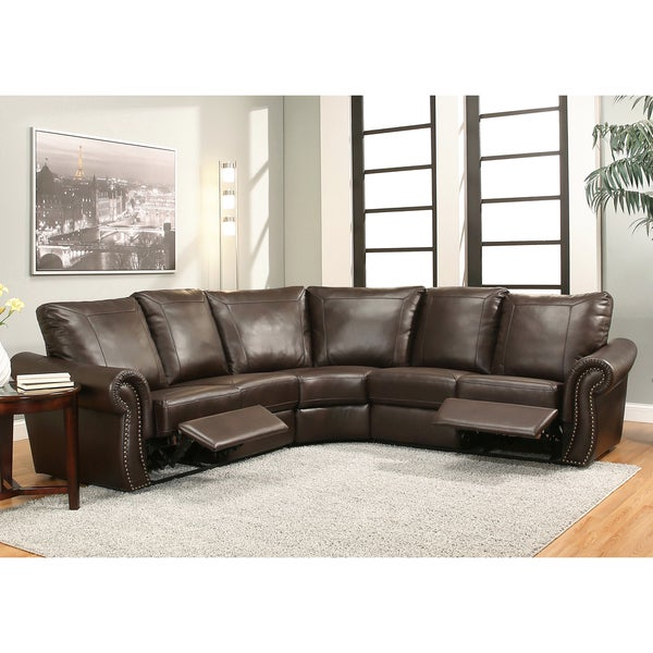 Abbyson Tiffany 3-piece Brown Push Back Recliner Sectional
