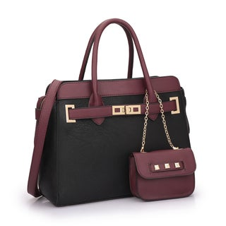 Dasein Faux Leather Satchel and Mini Bag Set with Shoulder Strap
