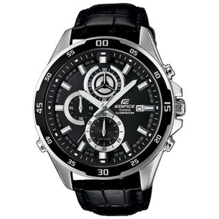 Casio Men's EFR547L-1AV 'Edifice' Chronograph Black Leather Watch